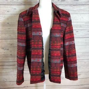 Alfred Dunner Red Aztec Open Front Blazer Size 16